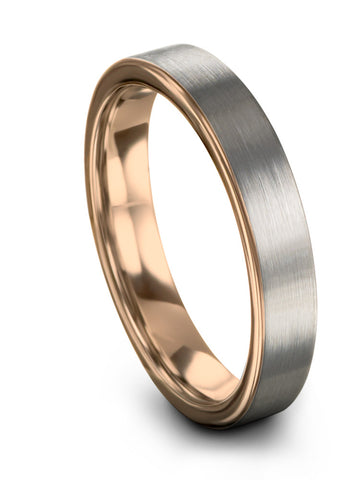 18k Rose Gold Band Ring for Women Brushed Tungsten Ring Available in 12mm 9mm 6mm 4mm Mens Wedding Bands