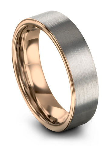 Brushed Flat Cut 18k Rose Gold Tungsten Wedding Ring Available in 12mm 9mm 6mm 4mm Mens Wedding Band
