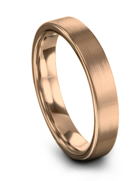 Wedding Ring 18k Rose Gold Flat Cut Tungsten Ring Available in 12mm 9mm 6mm 4mm Women & Mens Wedding Band