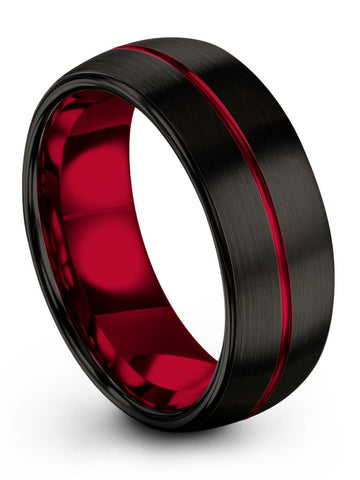 Tungsten Band Black Centerline Dome Brushed Polished