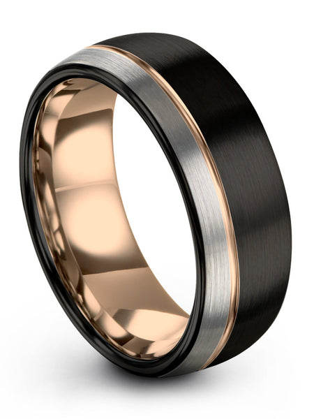 Dark Knight Black Galena Grey Half Brush Dome Cut Tungsten Ring With 18k Rose Gold Offset Line and Interior 8mm 6mm 4mm Width Mens Wedding Band