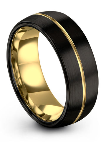 18k Yellow gold Interior & Center Line Dark Knight Black Exterior Dome Tungsten Ring 8mm 6mm 4mm Width Men and Women Wedding Band