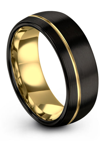 18k Yellow Gold Offset Line Interior Dome Tungsten Ring Dark Knight Black Exterior Women & Mens Wedding Band 8mm 6mm 4mm Width