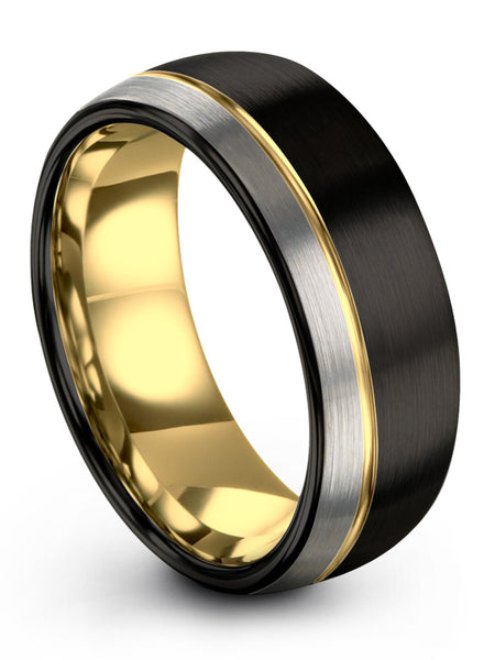 Black & Yellow Gold Plated Offset Line Dome Ring