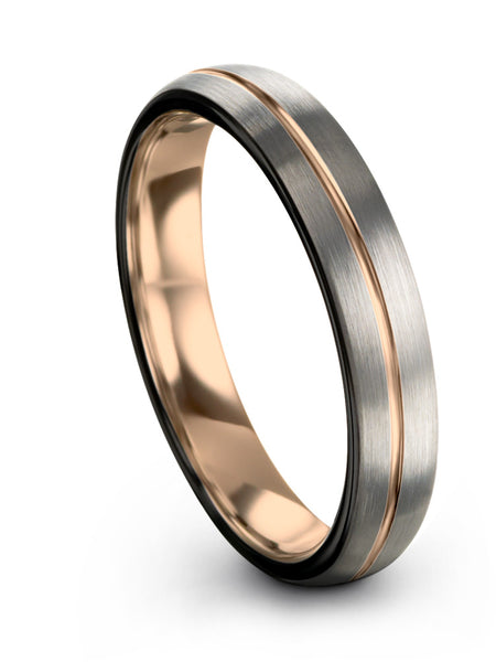 Galena Grey Dome Cut Tungsten Ring 18k Rose Gold Center Line and Interior Dark Knight Black Edge 8mm 6mm 4mm Width Women & Mens Wedding Band