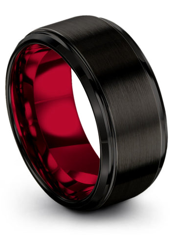 Black Beveled Edge Tungsten Ring Crimson Allure Red Interior 10mm 8mm 6mm 4mm width Women and Mens Wedding Band
