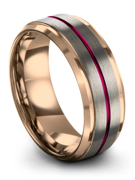 Brushed Tungsten Ring 18k Rose Gold Wedding Ring Crimson Allure Red Center Line Women & Mens Wedding Bands