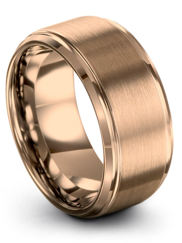18k Rose Gold Step Beveled Tungsten Ring 10mm 8mm 6mm 4mm Available Mens Wedding Band