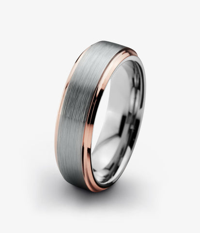 Tungsten Wedding Band 4mm Ring for Men Women Grey Rose Gold Plated Beveled Edge Brushed Polished