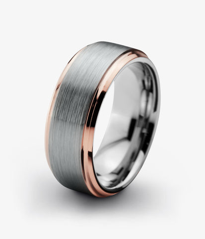 Tungsten Wedding Band 8mm Ring for Men Women Grey Rose Gold Plated Beveled Edge Brushed Polished