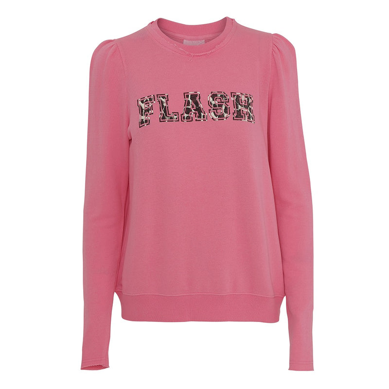 AIKO pink sweatshirt with print and puff sleeves