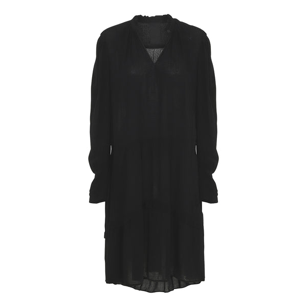 Black DISA dress with ruffles and puff sleeves