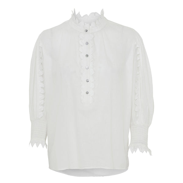 Gloria white shirt with ruffles around placket and at sleeves