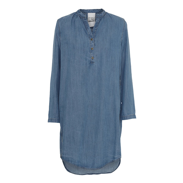 Harlow denim dress with v-neck, placket and rounded hem