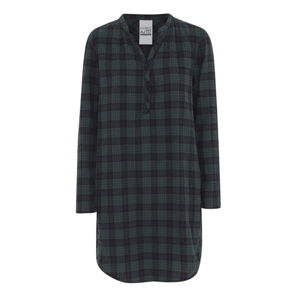 Harlow check tunic or dress with placket and rounded hem