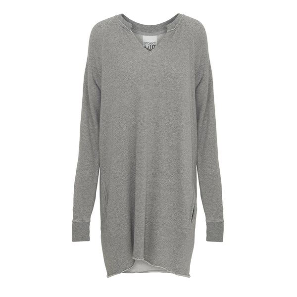 Amigo grey sweat dress with small v-neck and long sleeves