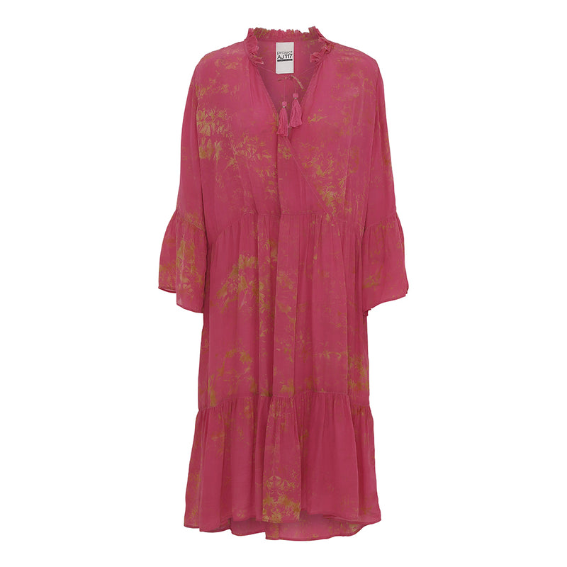 Leeann pink tie dye dress with layered skirt and flared sleeves