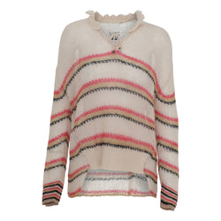 Lola knit shirt with stripes and drawstring at neck