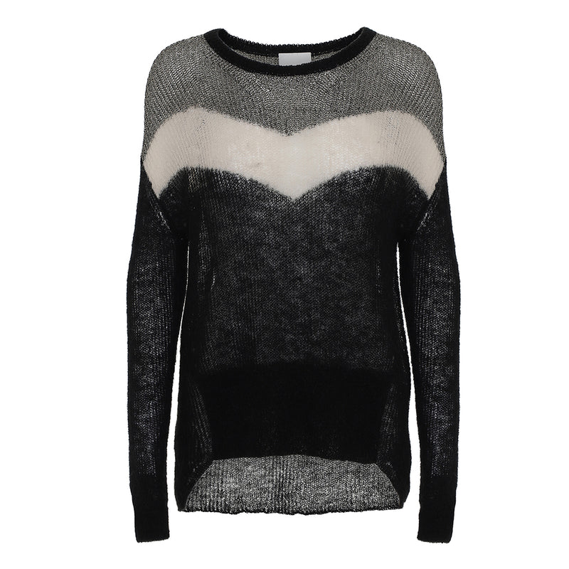 Lorenza hand knit blouse in grey and black colors