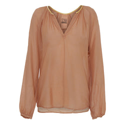 Mirren loose shirt in dark nude with v-neck and thin cuffs