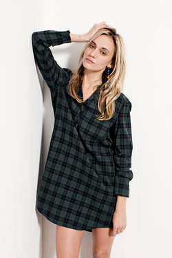 Harlow check pine green tunic or dress with placket