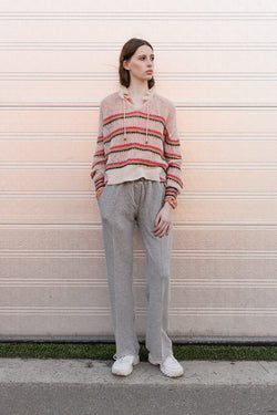 Lola knit shirt with stripes and drawstring at neck and grey adite sweat pants
