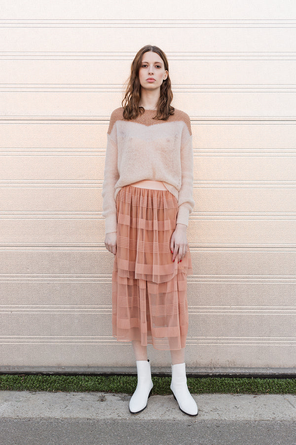 tulle skirt in dark nude with several layers and see through below the knees styles with Lorenza hand knit blouse