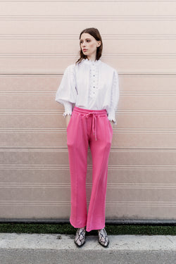 Gloria white shirt with ruffles and puff and pink adito sweat pants