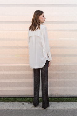 DITTE white shirt with ruffles at sleeves and back