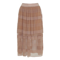 tulle skirt in dark nude with several layers and see through below the knees