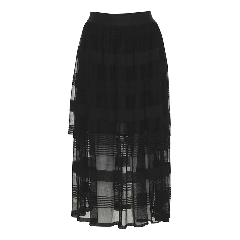 tulle skirt in black with several layers and see through below the knees