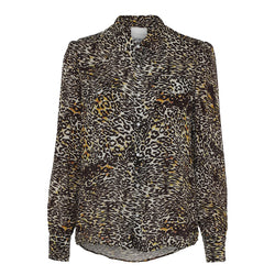 Wester shirt in leopard print with collar and buttons