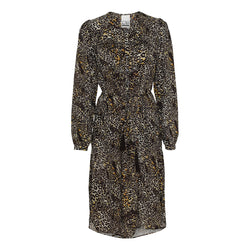 Willow leopard dress with belt and long sleeves