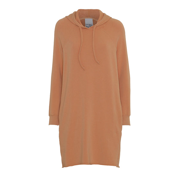 sweatshirt dress with hoodie pockets and cord string