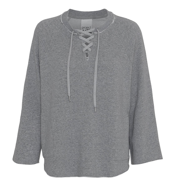 Angela grey sweatshirt in tailor look with strings