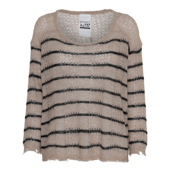 light alpaca knit with stripes and raw edges