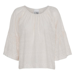 carmen broderie anglaise blouse flared sleeves elastic neck