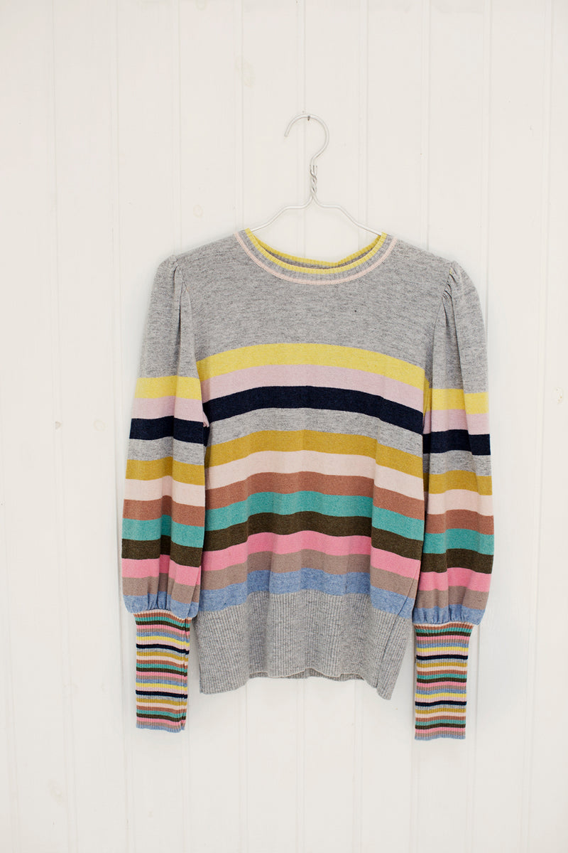 multi color stripe knit with long cuffs and crew neck