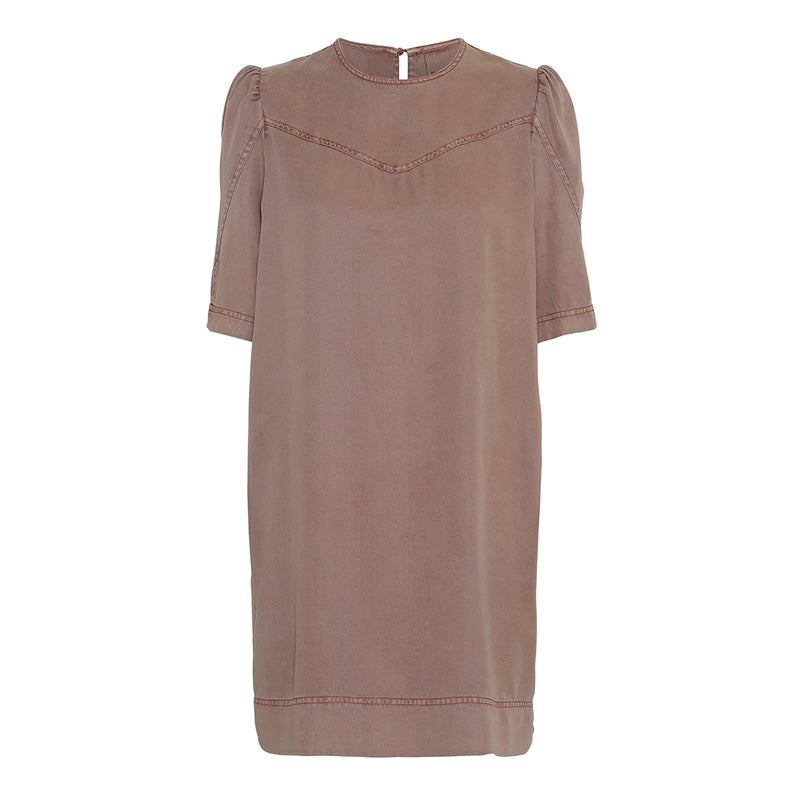 diamond short dress with puff sleeves in soft natural fabric