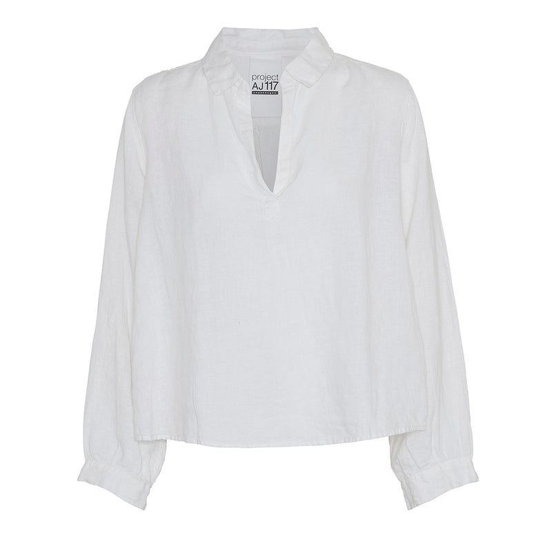 white sailor inspired soft linen shirt with v-neck and collar