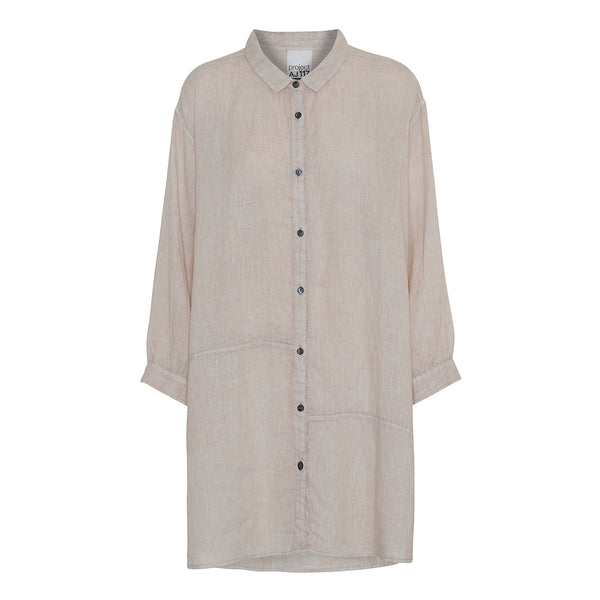 beige linen oversize shirt with collar and buttons