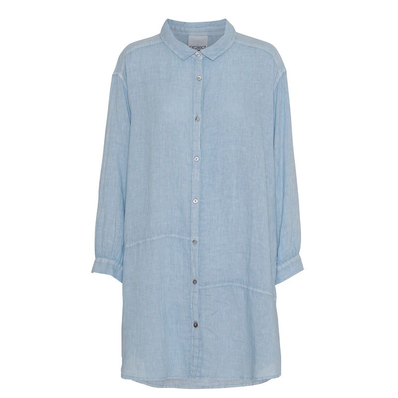 light blue linen shirt in oversize fit with collar and buttons