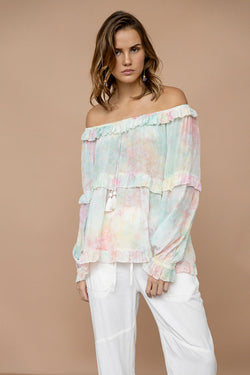 tie dye shoulder-down blouse with ruffles and elastic cuffs