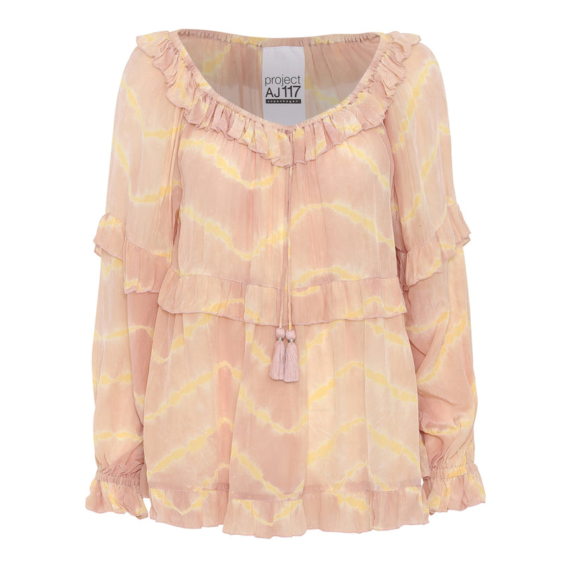 tie dye blouse in rose/yellow ruffles and drawstring with tassels