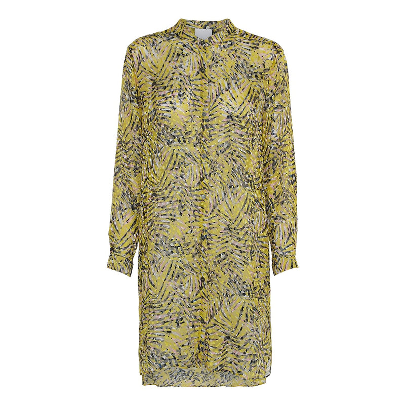 project aj117 ghina long shirt in burn out yellow flower print