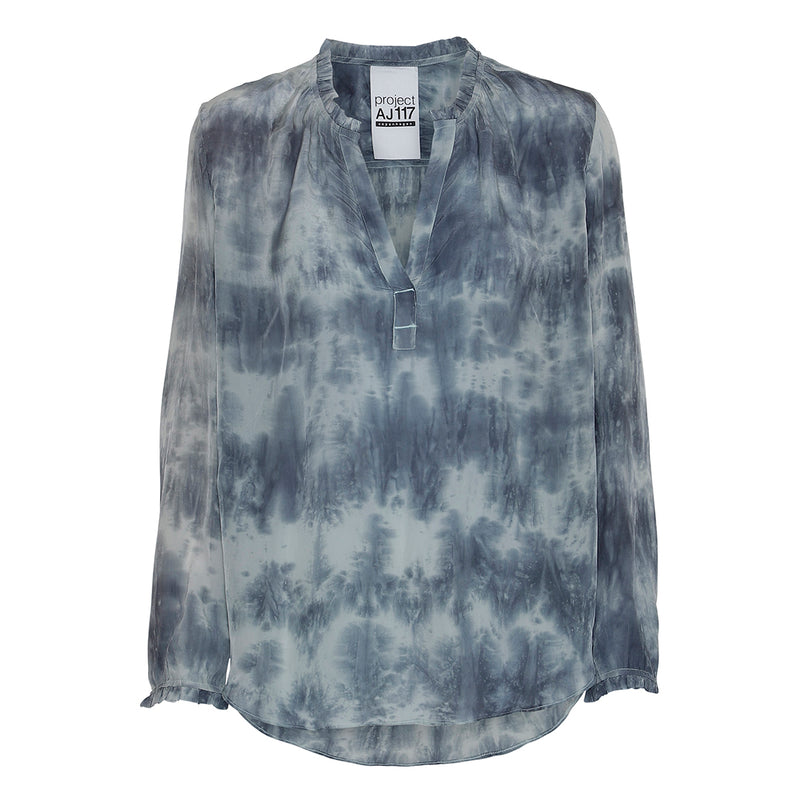 tie dye shirt in blue colors with long sleeves and v-neck