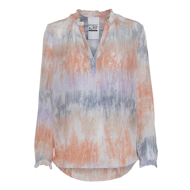 tie dye shirt in multi pastel colors with v-neck and long sleeves