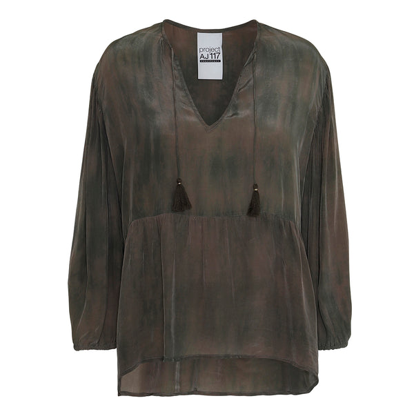 tie dye shirt in army colors with v-neck and tassels