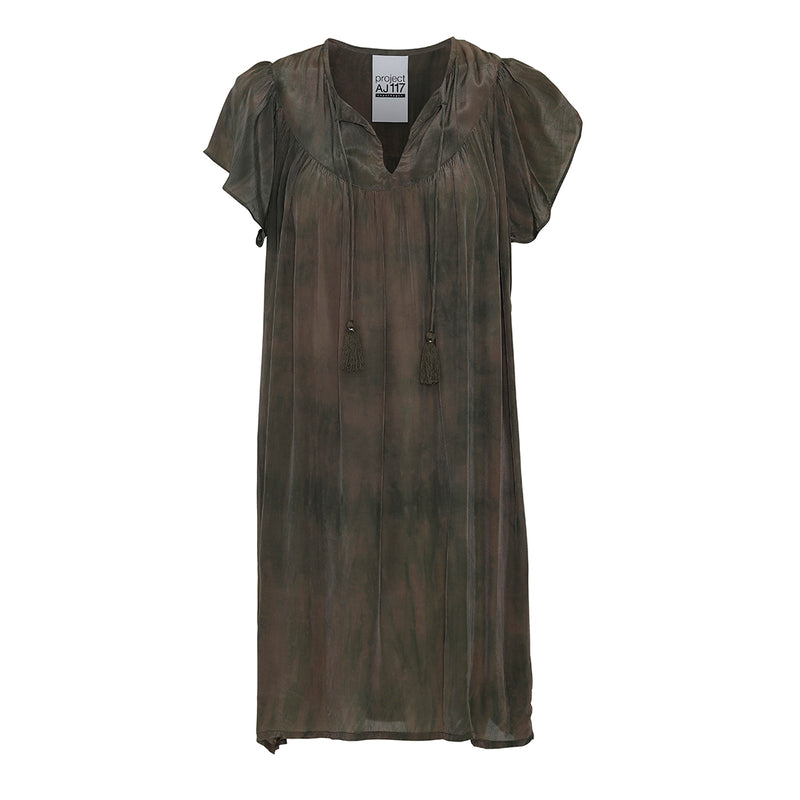 short dress in army tie dye dress with v-neck and tassels