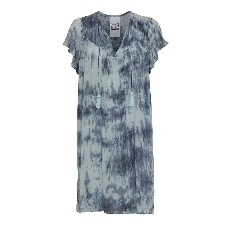 short tie dye dress in blue with v-neck and tassels